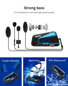 Image 3 - LEXIN мотоцикл Bluetooth беспроводной шлем гарнитура интерком для 1 4riders с шумоподавлением и FM,GPS,MP3 музыка