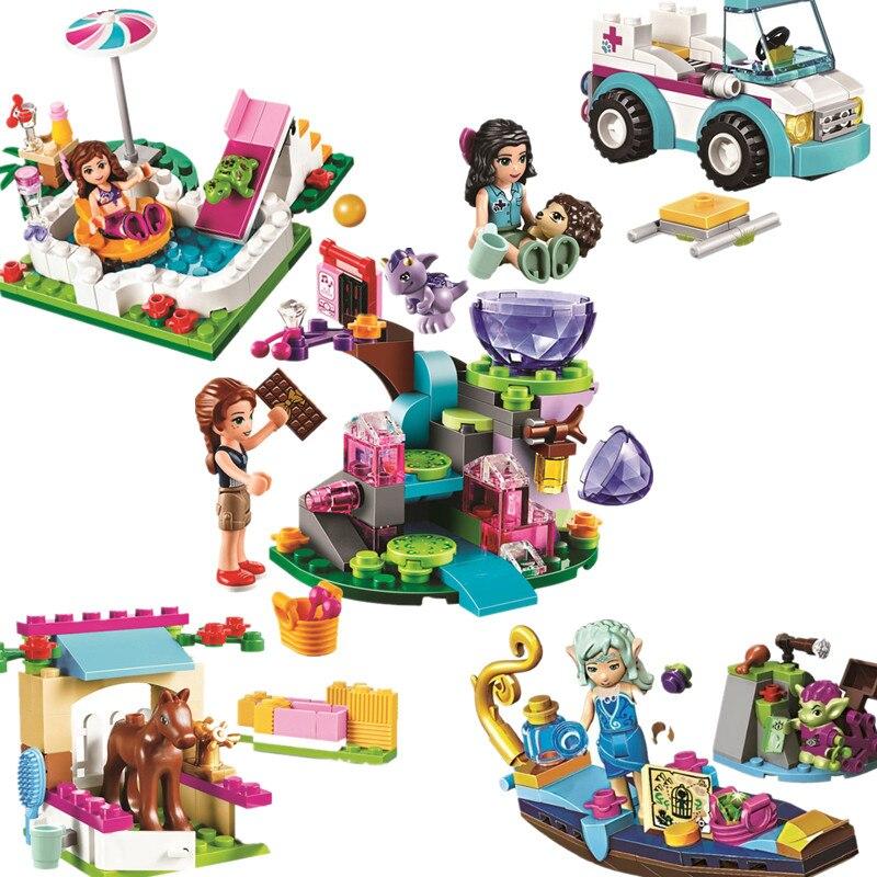 Series Houses Animals Emma/Mia Cat Play Pet House Building Blocks Bricks Girls Princess Lepining Friends Toys For Children