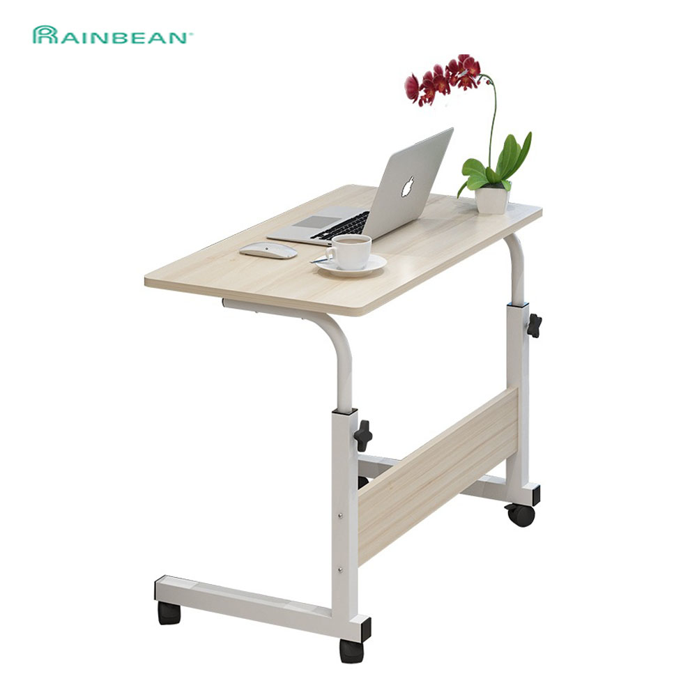 Removable Computer Table Adjustable Laptop Desk Can Be Lifted Standing Bedside Sofa Bed Notebook Desk With Wheels 40*60CM
