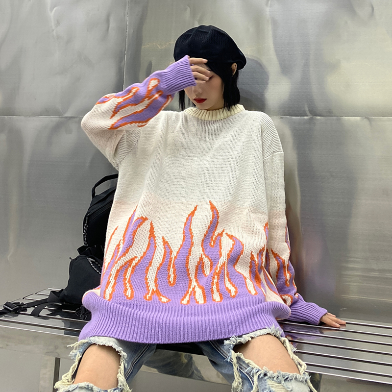 Gagaok-Loose-Harajuku-Women-Sweater-Knit-Top-Spring-Autumn-Flame-Sweaters-Female-Fashion-Long-Outfit-Pullovers