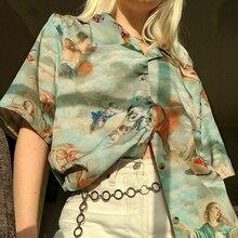 Vintage Angle Print Female Blouse Shirts Turn-down Collar Lo