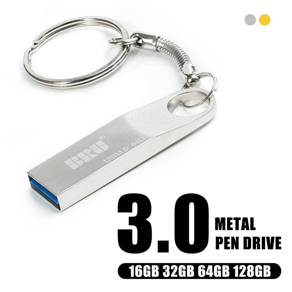 Bru Metalen Pendrive Usb Flash Drive 16Gb 32Gb 64Gb 128Gb Usb 3.0 Waterdicht Cle Usb 16 gaan Pen Drive 3.0 Custom Logo Gift Usb Key 1