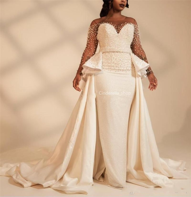 Long Sleeves Plus Size Mermaid Wedding Dresses With Overskirt Pearls Beaded Illusion African 2020 Bridal Gowns Customized Vestid