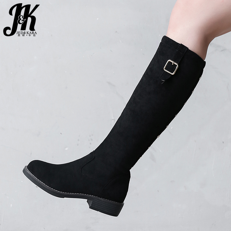 JK genou bottes hautes femmes troupeau botte dames bout rond chaussures décontractées femme boucle talons bas chaussures Rivet chaussures hiver 2020 nouveau