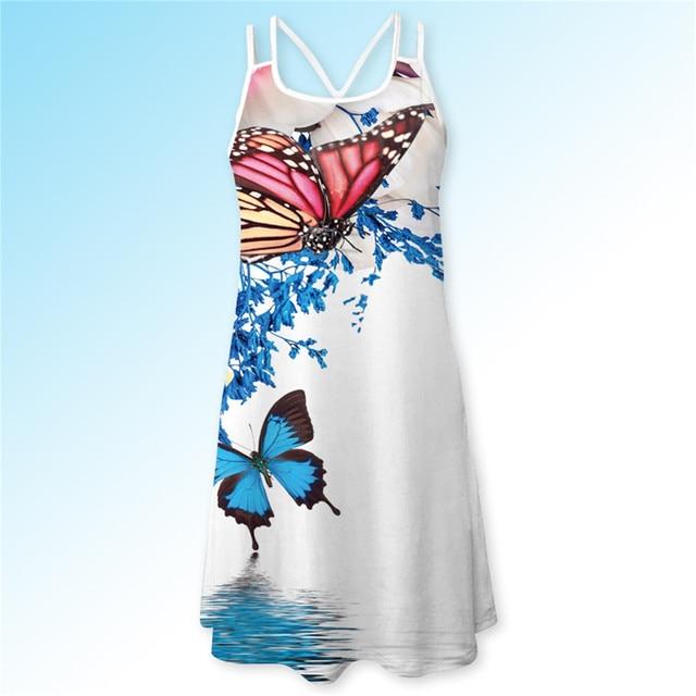 Women'S Summer Short Suspender Dress 3d Printing Sling O-Neck Hollow Out Slim Bottoming Shirt Ladies Dress платье летнее M* 10