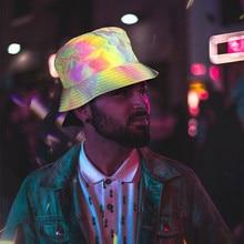 Женская Мужская шляпа в стиле Харадзюку, хип-хоп, рыбацкая шляпа, кепка с отражающими радужными полосками, Reversiable Flashback, шапка в рыбацком стиле# g3