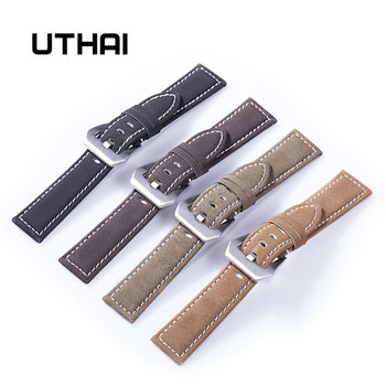 UTHAI P12 20mm Watch Strap Genuine 22mm Band 18-24mm Accessories High Quality Leather Watchbands - discount item  25% OFF Watches Accessories
