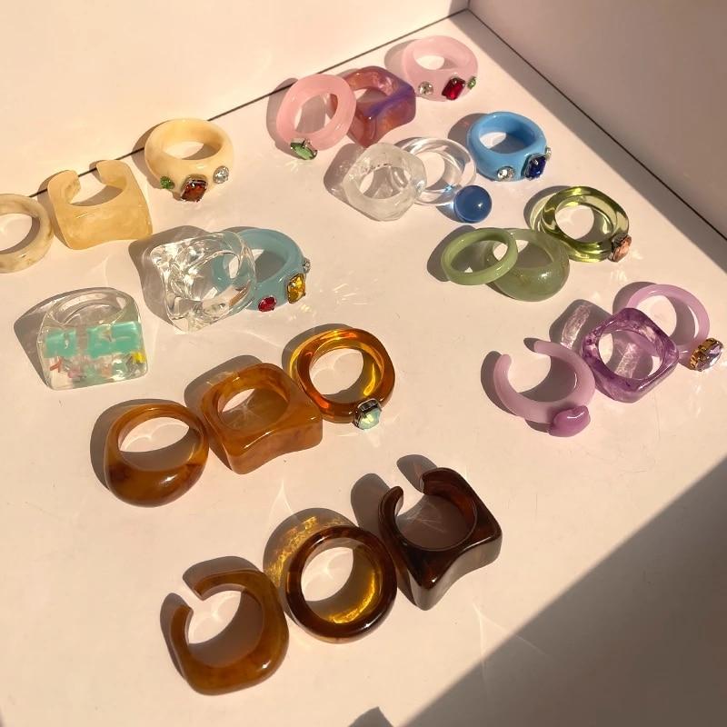 Новый Красочный прозрачный акриловый стразы набор из смолы кольцо геометрические Открытые Кольца для женщин и девочек ювелирные изделия для вечерние Ринок HUANZHI 2021|Кольца|   | АлиЭкспресс