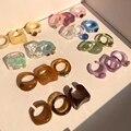 Neue Bunte Transparente Acryl Strass Harz Set Ring Geometrie Offene Ringe für Frauen Mädchen Partei Schmuck HUANZHI 2021
