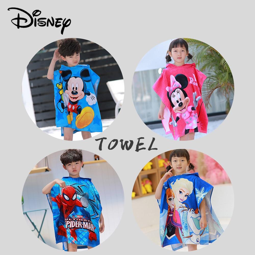 Disney Cartoon Mickey Minnie Frozen Spiderman Children Bath Towel Baby Soft Beach Cloak Towels Snow White Princess Cotton New