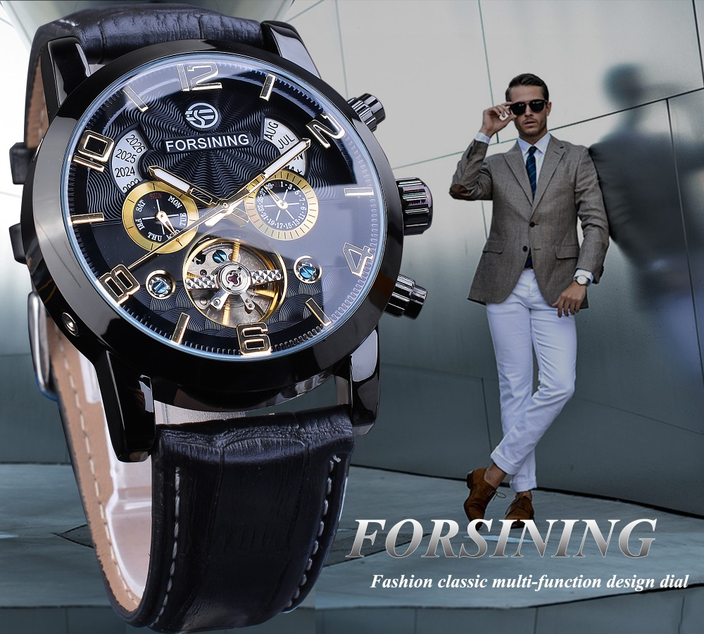 Heb8536442db8454199608a24c1c20d635 Forsining Tourbillion Fashion Wave Black Golden Clock Multi Function Display Mens Automatic Mechanical Watches Top Brand Luxury
