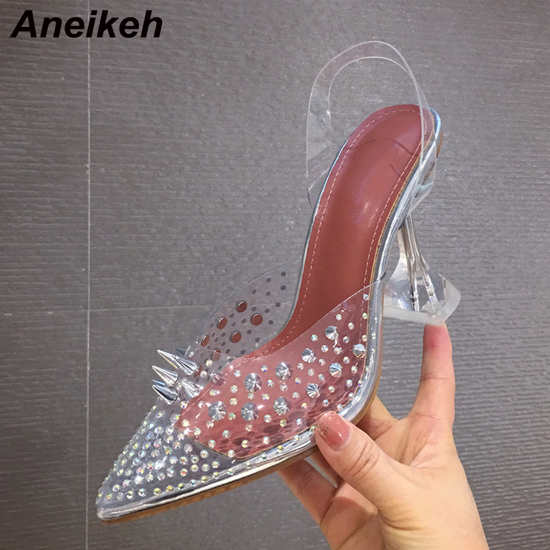 Aneikeh Transparent Crystal Rivets Pointed Toe High Heels Sandals Women Slip On Clear Strap Back Strap Pumps Wedding Party Shoes