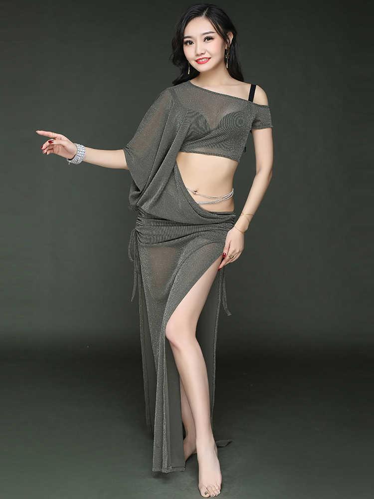 NUOVO ballo di pancia del vestito yar maniche corte vestiti di danza del ventre lungo donne del vestito da ballo costumi di danza