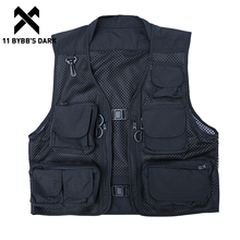 Vests Men Cargo Streetwear Coats Multi-Pockets Patchwork Vintage Tactical Sleeveless