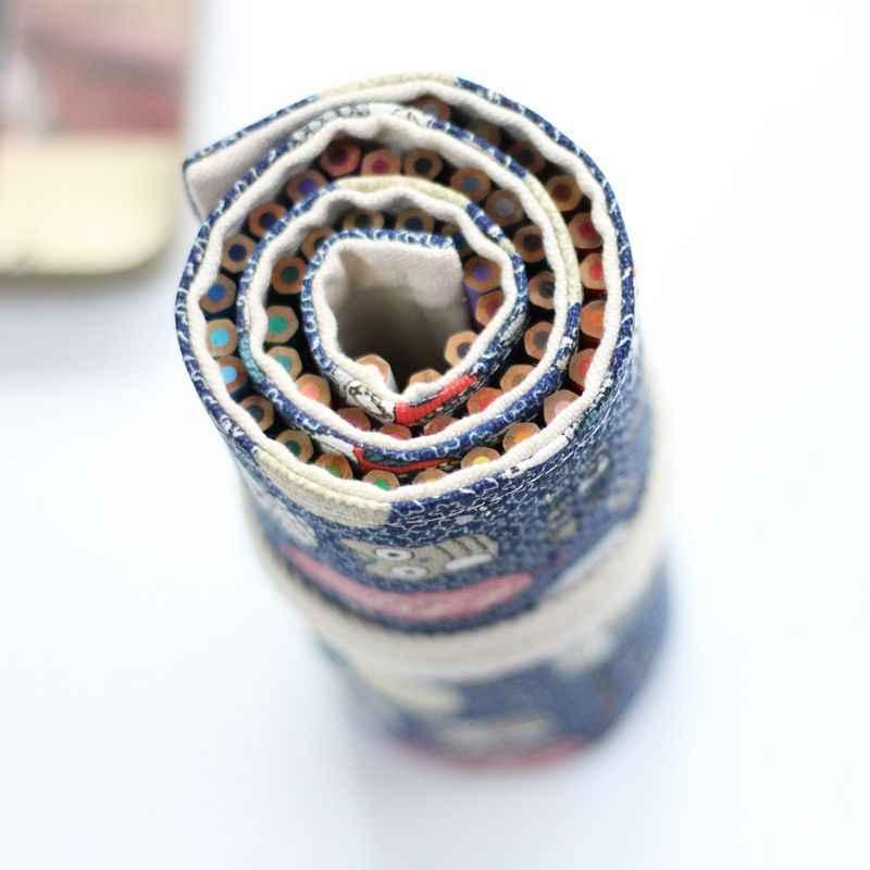 Kawaii น่ารักกวางม้วนกระเป๋าใส่ดินสอ 36/48/72 หลุมผ้าใบ Penal Pencilcase สำหรับหญิง Big ปากกากระเป๋ากล่องเครื่องเขียนกระเป๋า