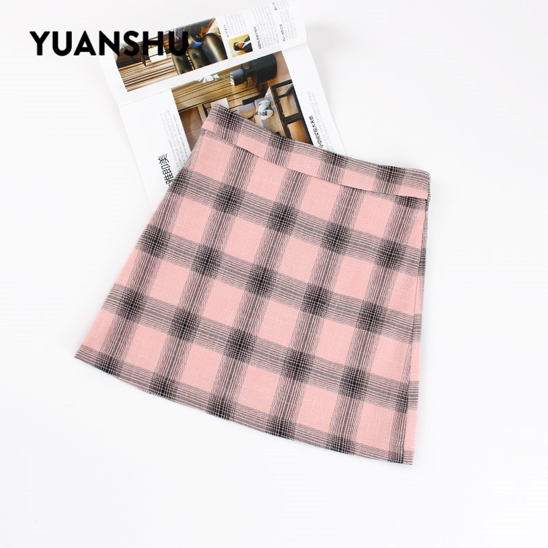 YUANSHU Women Summer Mini Skirts High Waist Chiffon Plaid A-line Skirt Sweet Girls Streetwear Casual Basic Ladies Sheath Skirts