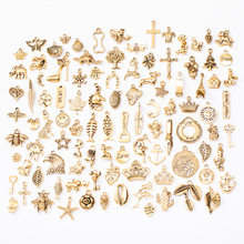 Jewelry-Making-Accessories Pendant Beads Gold-Zinc-Alloy Random-Kinds Metal Ancient 100PCS