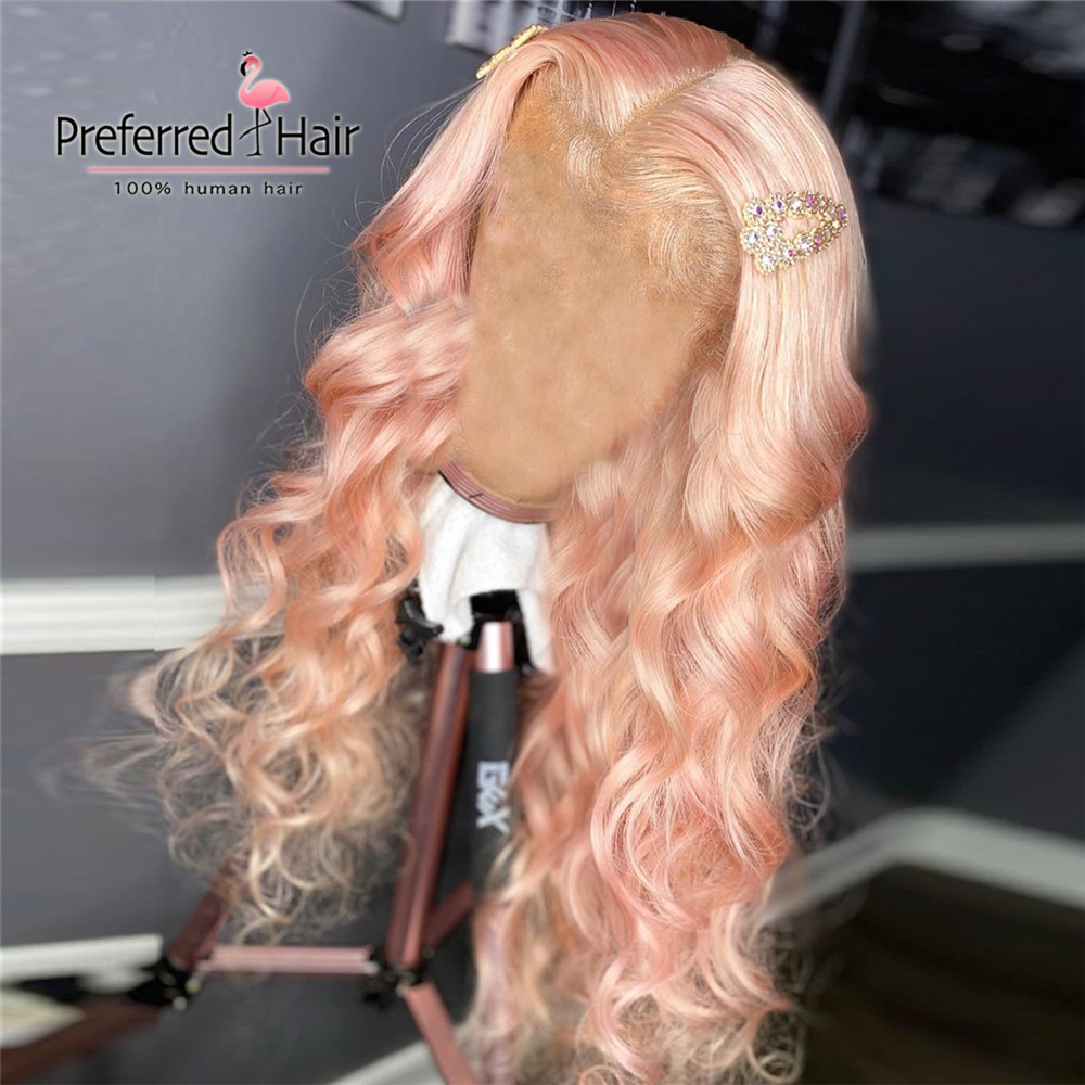 Preferred Remy Brazilian Full Lace Wig Pink Transparent Lace Wigs Preplucked Blue Lace Front Human Hair Wigs For Black Women
