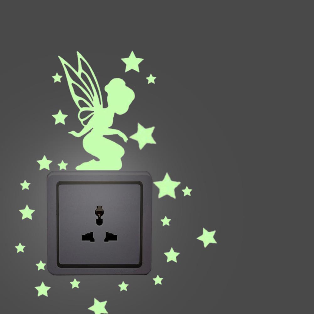 Star Angel Glow in the Dark Switch Sticker Cat Dog Luminous Wall Sticker Fluorescent Green Fairy Sticker Kid Room Home Decor