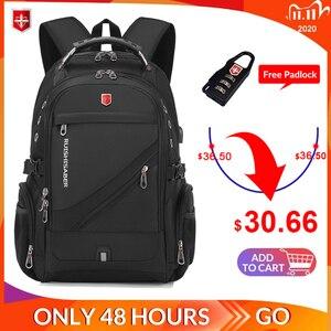 Image 1 - 2020 Waterproof 17 Inch Laptop Backpack Men USB Charging Travel Backpack Women Oxford Rucksack Male Vintage School Bag mochila