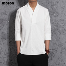 JDDTON New Men's Cotton Linen T-shirts Harajuku Retro Fashions Japanese Streetwear Casual Tshirt Traditional Male Clothing JE010