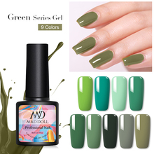 MAD DOLL Green Series Gel Nail Polish 8ml Pure Color Soak Off UV Varnish One-shot Art Lacque Manicur