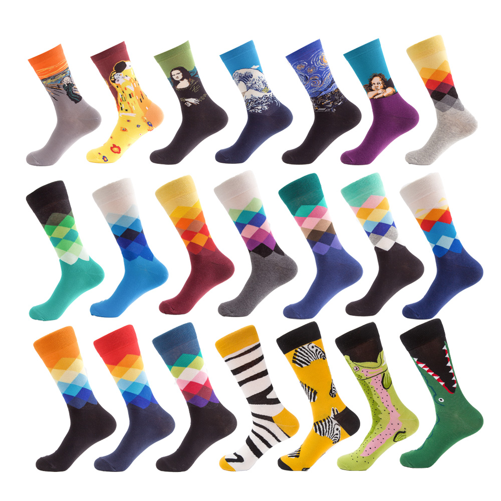 UG Brand Quality 20Colors Mens Happy Socks Striped Plaid Zebra Mona Lisa Socks Men Combed Cotton Calcetines Largos Hombre