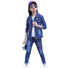Abesay Roupas Meninas Outono Bordado Denim Jacket + Pants 2 Pcs 4 Casuais Meninas Roupas Definir Adolescente Meninas Roupas de Inverno 12 anos