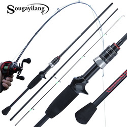 Souagyilang 1.8m Casting Spinning Fishing Rod Power M Carbon Rod Pole 3 Section Carbon Fiber Baitcasting Fishing Rod 3 Pieces