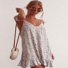 Женское платье на бретелях спагетти короткое без рукавов с цветочным