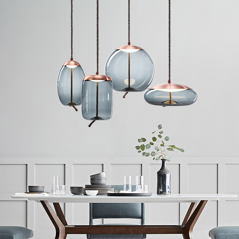 Nordic 3head lamp hemp rope glass restaurant lamp glass shadebedroom bedside bar stairs creative led Pendant Lights LB32503