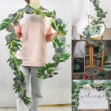 Artificial Green Eucalyptus Willow Leaves DIY Flower Garland Vine Wedding Home Party Decoration Table Wall Floral Leaves Decor
