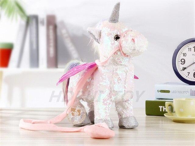 2019 Newest 35cm Electric Walking Unicorn Plush Toys Stuffed Animal Toy Electronic Music Unicorn Toy for Children Christmas Gift