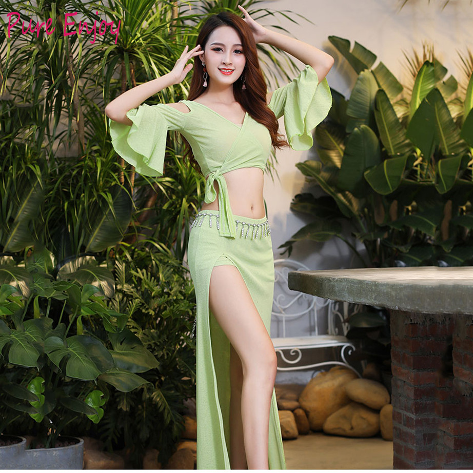 Belly Dance practice clothes sets of Autumn sexy Butterfly Sleeves long skirt show oriental dance costume women Belly Dance set