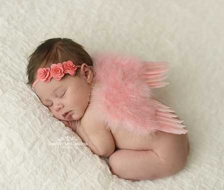 2pcs/set Cute Newborn Angel Feather Wings with Baby Girl Rose Flower Headband Hair Accessories for Infant Photography Props