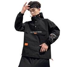 Mens autumn winter Half Zipper Hooded Workwear Jackets coats masculine Japanese streetwear bomber jacket hoodies windbreaker