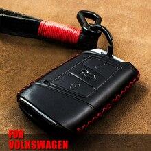 Genuine Leather Car Key Remote Cover Case For Volkswagen VW Tiguan MK2 Magotan Passat B8 CC 2017 2018 For Skoda Superb A7