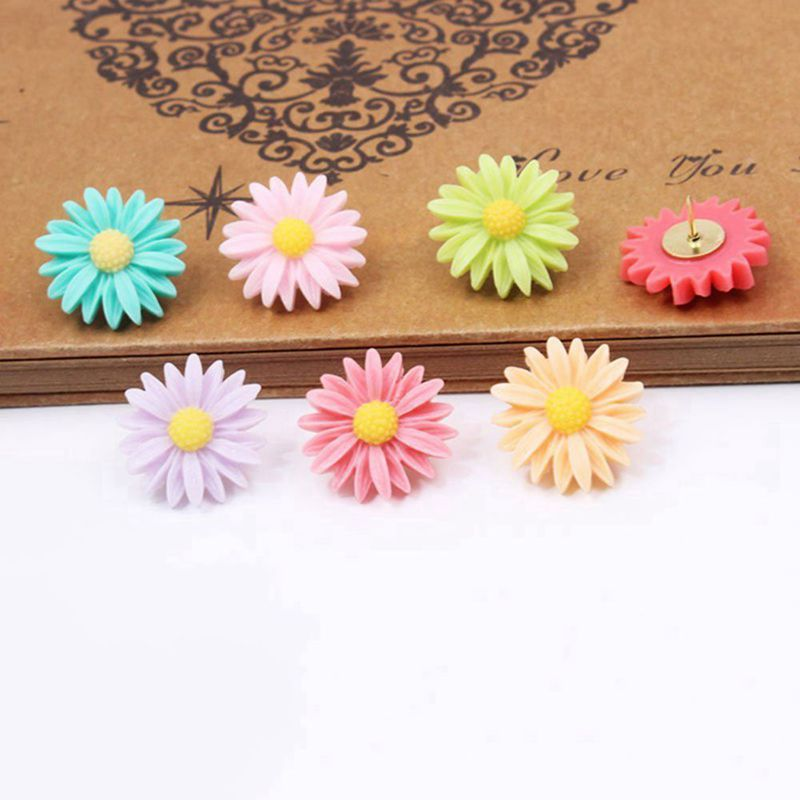 Decorative Push Pins, Assorted Color Floret Creative Thumbtacks For Home/Office Whiteboard, Corkboard, Photo Wall Holding Paper