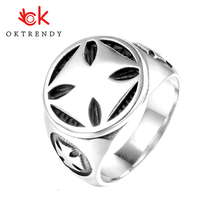 Oktrendy silver black color jesus cross ring stainless steel biker rings gothic punk men ring for dropship punk style layered stainless steel cross ring for men