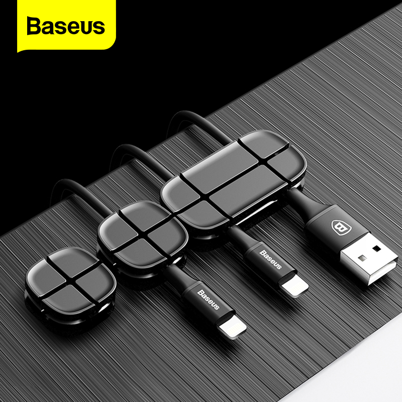 Baseus Cable Winder Flexible Silicone USB Cable Organizer Wire Cord Management Cable Clip Holder For Mouse Headphone Earphone