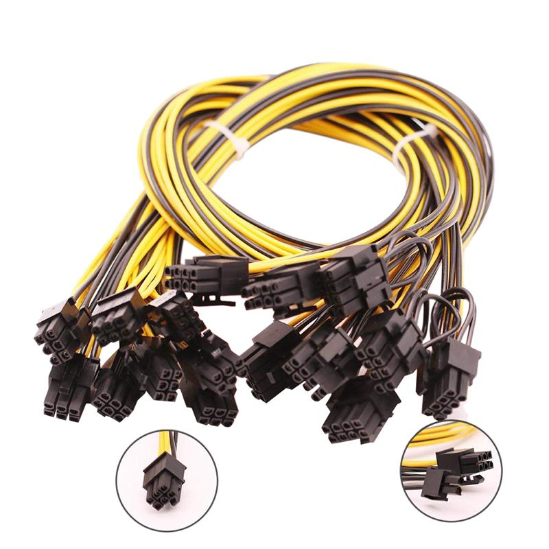 Retail 8PCS-6 PIN PCIe Express to PCIe 8 (6+2) PIN(25 Inch) New18AWG 6pin to 8pin Male to Male Cable For GPU/PSU breakout board,