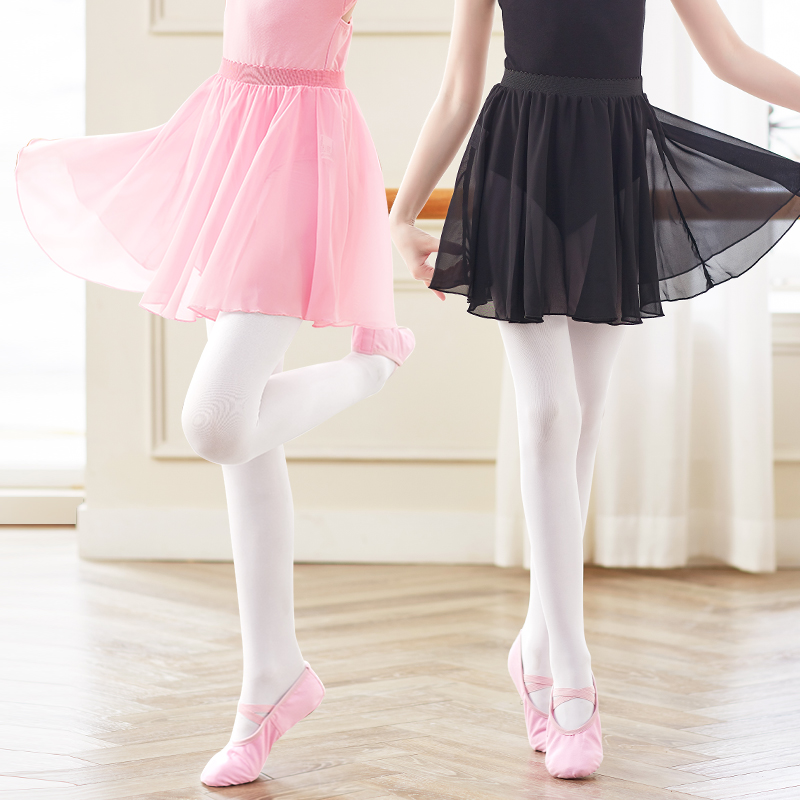 Girls Ballet Skirt Sheer Chiffon Ballet Tutu Pink Kids Gymnastics Leotard Skirts
