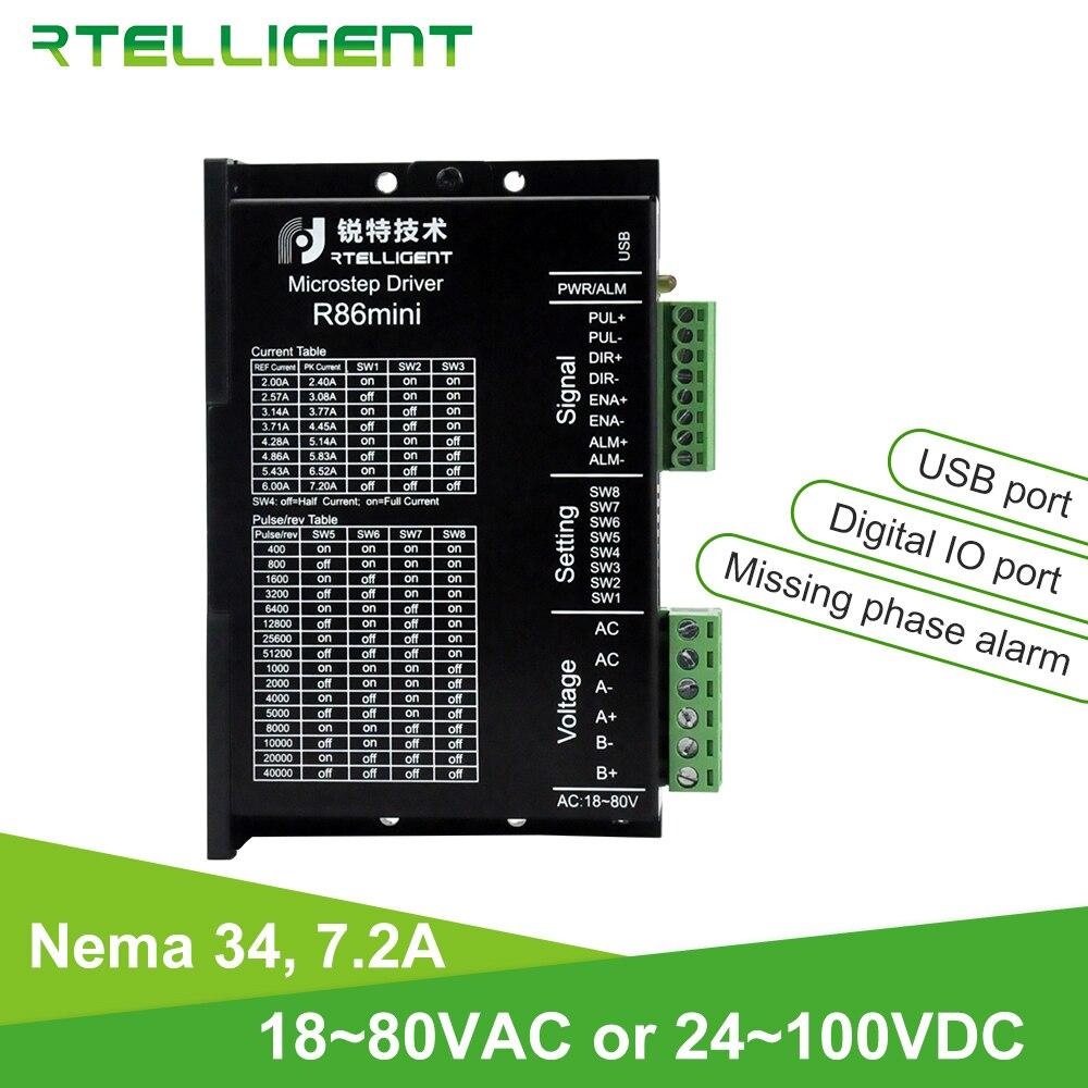 Rtelligent R86mini Nema 34 7.2A Stepper Motor Driver 18~80VAC 24~100VDC with Phase Miss Alarm and USB Port and Digital IO Port