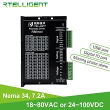 Rtelligent R86mini Nema 34 7.2A sterownik silnika krokowego 18 ~ 80VAC 24 ~ 100VDC z fazą Miss Alarm i Port USB i cyfrowy Port IO