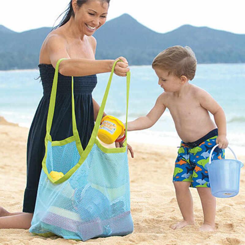 Bolsa de almacenamiento de juguetes de baño de malla de playa para niños pequeños bolsas de red plegables grandes bolsas de red ahuecadas bolsas de playa juguetes de comida caliente