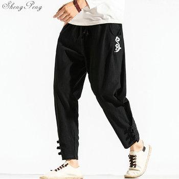 Tradycyjne chińskie spodnie męskie bawełniane modne chińskie spodnie w stylu casual man harem spodnie luźne spodnie do fitnessu męskie V1784 tanie i dobre opinie sheng peng COTTON Pościel Suknem