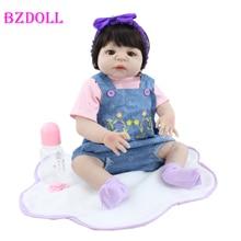 55cm Full Soft Silicone Reborn Girl Doll Toy Lifelike Vinyl Newborn Alive Babies Bebe Boneca Child Dress Up Gift Dolls