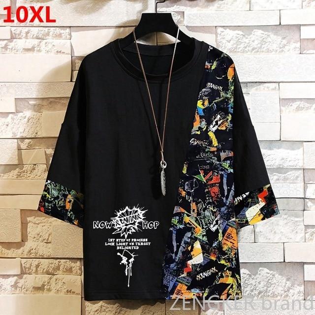 スーパー特大プラスサイズ潮ブラザー秋ルースラウンドネック半袖tシャツ厚い紳士服 10XL 11XL 9XL