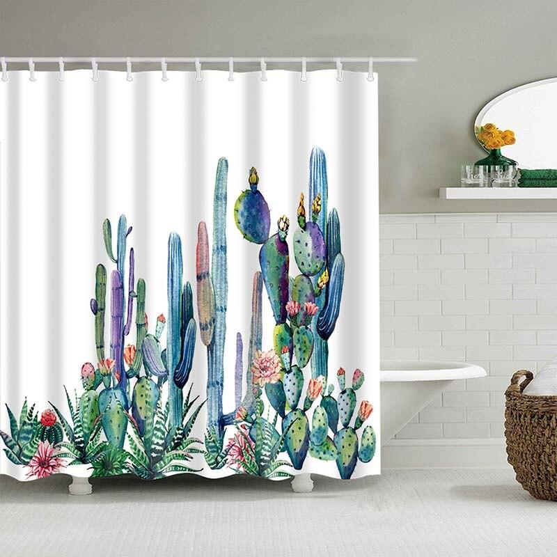 Тропический кактус, занавеска для душа, полиэфирная ткань, занавеска для ванной комнаты, украшения для ванной комнаты, мульти-размер, занавеска для душа с принтом s - Цвет: 5