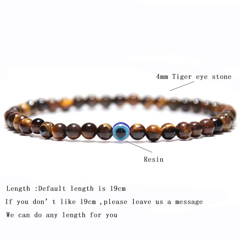 Minimalist Evil eyes Bracelet Men 2019 Charm 4mm Natural Stone Braslet Tiger eye Braclet For Male Yoga Jewelry Pulsera Hombre
